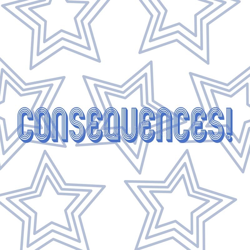 Text sign showing Consequences. Conceptual photo Result Outcome Output Upshot Difficulty Ramification Conclusion. Text sign showing Consequences. Business photo stock illustration