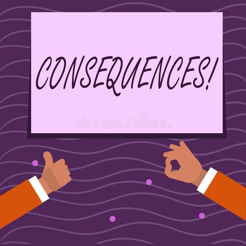 Text sign showing Consequences. Conceptual photo Result Outcome Output Upshot Difficulty Ramification Conclusion Two. Text sign showing Consequences. Business vector illustration