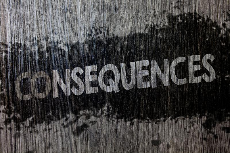 Text sign showing Consequences. Conceptual photo Result Outcome Output Upshot Difficulty Ramification Conclusion Wooden wood backg. Round black splatter paint royalty free illustration