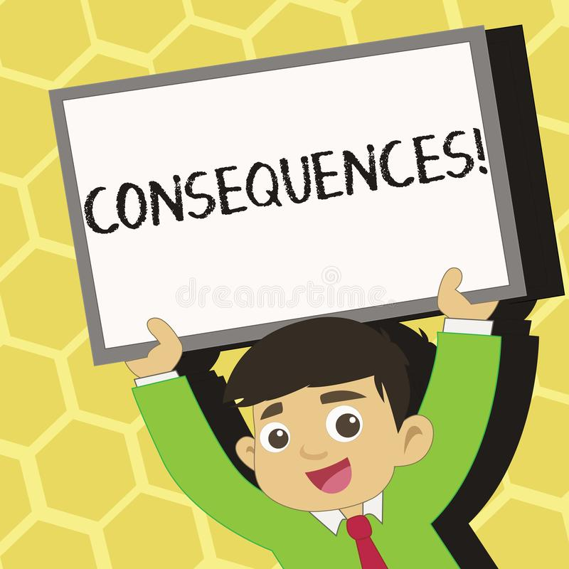 Text sign showing Consequences. Conceptual photo Result Outcome Output Upshot Difficulty Ramification Conclusion Young. Text sign showing Consequences. Business royalty free illustration