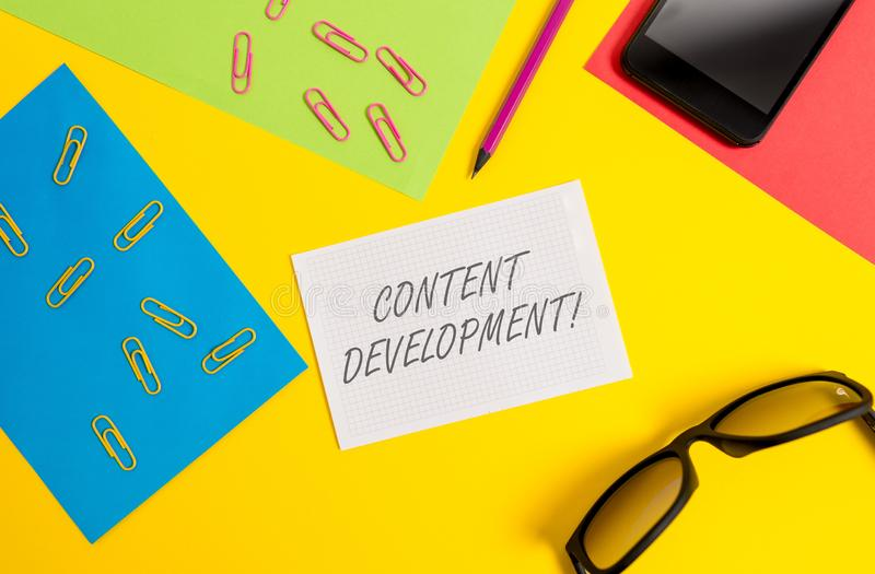 Text sign showing Content Development. Conceptual photo Specialized in Graphic Design Multimedia Documentation Paper. Text sign showing Content Development royalty free stock image