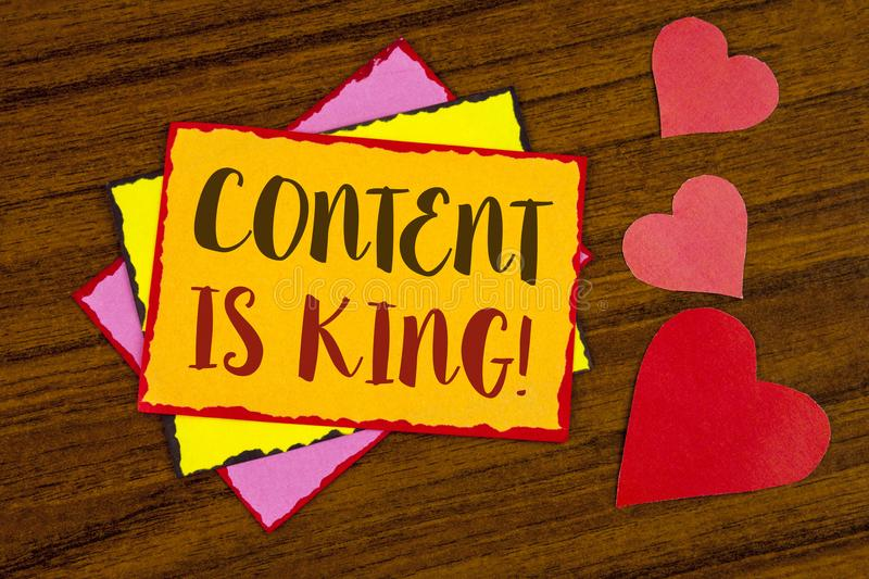 Text sign showing Content Is King Motivational Call. Conceptual photo Strategy online internet digital seo written on Sticky note. Text sign showing Content Is stock photography