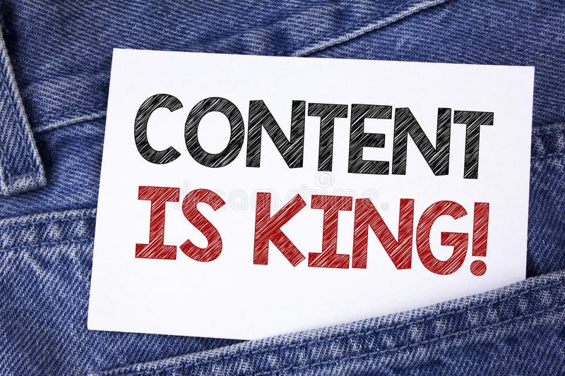 Text sign showing Content Is King Motivational Call. Conceptual photo Strategy online internet digital seo written on Sticky Note. Text sign showing Content Is royalty free stock photo