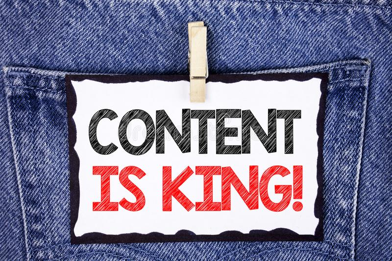 Text sign showing Content Is King Motivational Call. Conceptual photo Strategy online internet digital seo written on white Sticky. Text sign showing Content Is stock photo