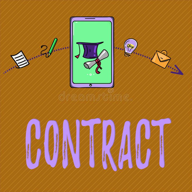 Text sign showing Contract. Conceptual photo written or spoken agreement especially one concerning employment.  vector illustration