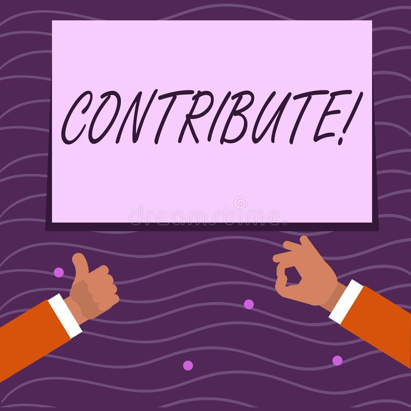 Text sign showing Contribute. Conceptual photo Strategy Decision Teamworking For Achiving Common Successful Goal Two. Text sign showing Contribute. Business vector illustration