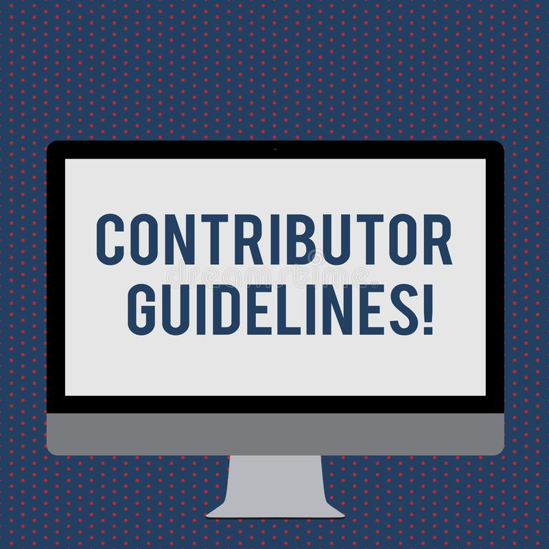 Text sign showing Contributor Guidelines. Conceptual photo demonstrating who writes articles for magazine or newspaper. Text sign showing Contributor Guidelines royalty free illustration