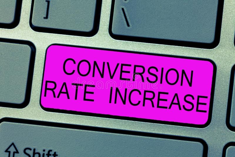Text sign showing Conversion Rate Increase. Conceptual photo Ratio of Total Visitors who perform desired actions.  stock illustration