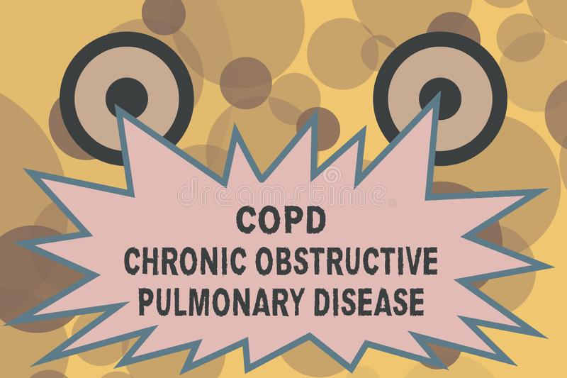 Text sign showing Copd Chronic Obstructive Pulmonary Disease. Conceptual photo Lung disease Difficulty to breath.  stock illustration