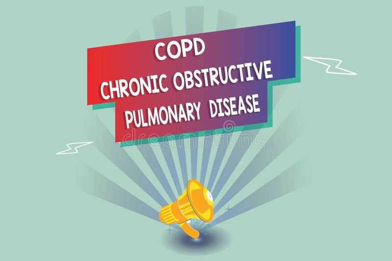 Text sign showing Copd Chronic Obstructive Pulmonary Disease. Conceptual photo Lung disease Difficulty to breath.  vector illustration