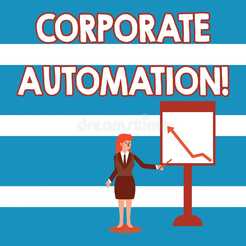 Text sign showing Corporate Automation. Conceptual photo automating key processes through computing technology. Text sign showing Corporate Automation. Business vector illustration