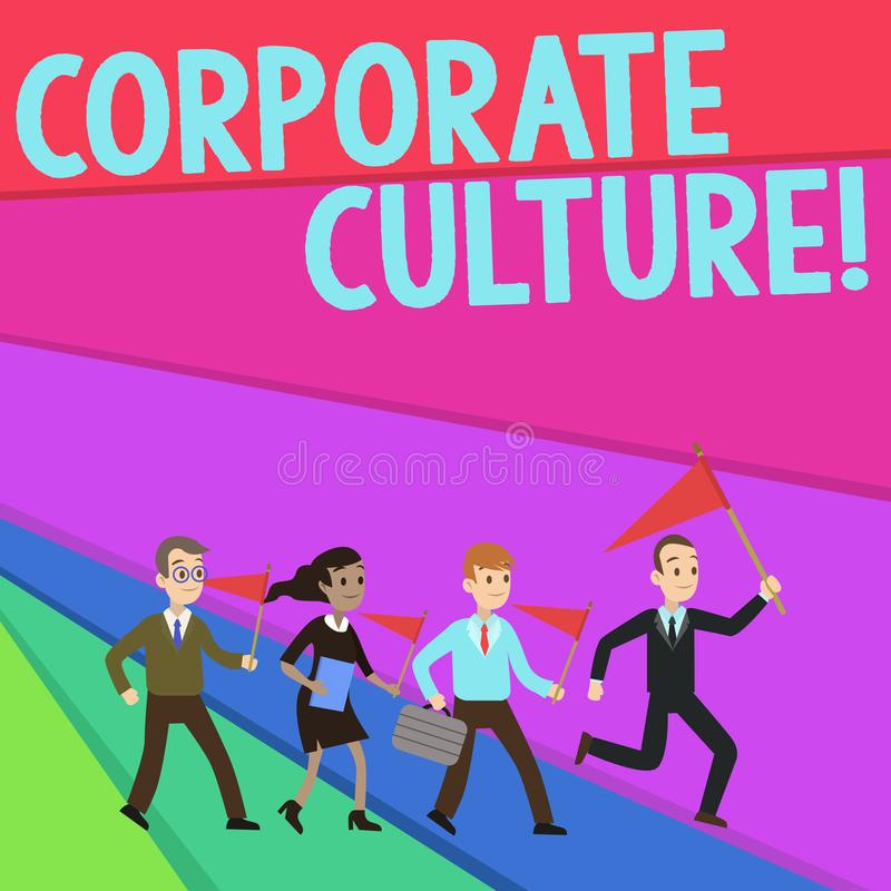 Text sign showing Corporate Culture. Conceptual photo beliefs and attitudes that characterize a company People Crowd royalty free illustration