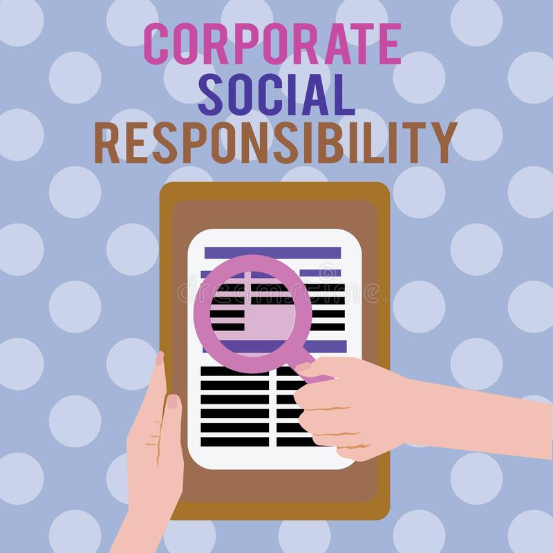 Text sign showing Corporate Social Responsibility. Conceptual photo Internal corporate policy and Ethic strategy.  royalty free illustration