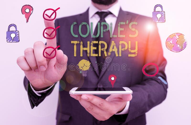 Text sign showing Couple S Therapy. Conceptual photo treat relationship distress for individuals and couples royalty free stock images
