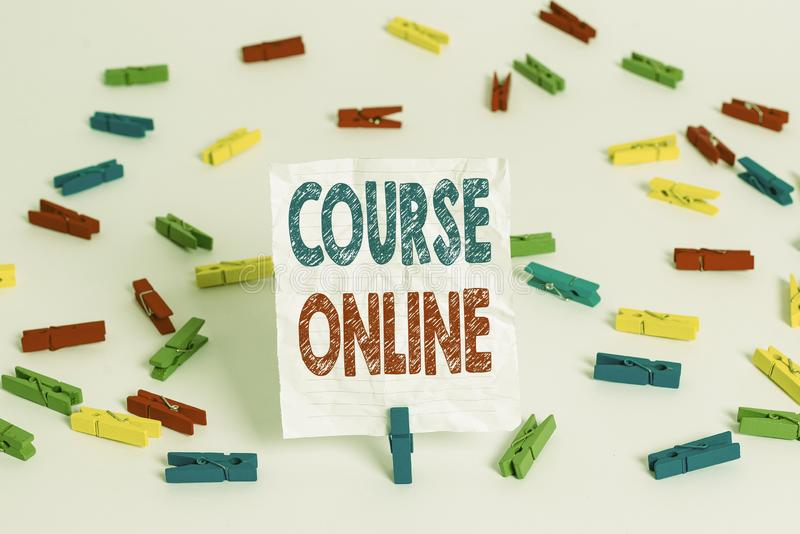 Text sign showing Course Online. Conceptual photo eLearning Electronic Education Distant Study Digital Class Colored. Text sign showing Course Online. Business royalty free stock photography