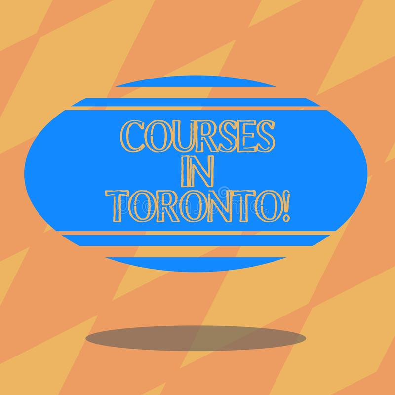 Text sign showing Courses In Toronto. Conceptual photo direction or routes between near or far places in Canda Blank. Color Oval Shape with Horizontal Stripe vector illustration