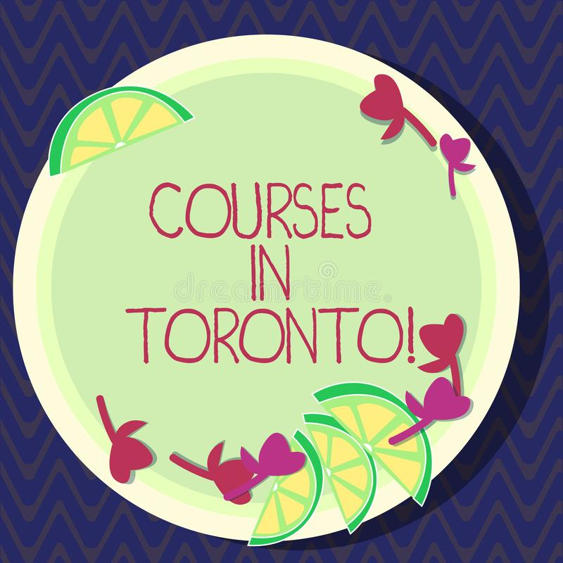 Text sign showing Courses In Toronto. Conceptual photo direction or routes between near or far places in Canda Cutouts. Of Sliced Lime Wedge and Herb Leaves on vector illustration
