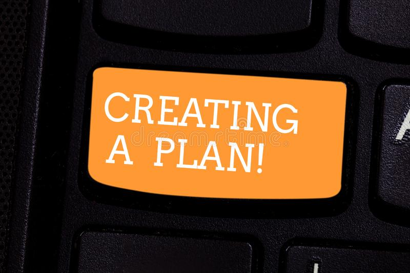 Text sign showing Creating A Plan. Conceptual photo Establish steps to follow for a project strategy to succeed Keyboard royalty free stock image