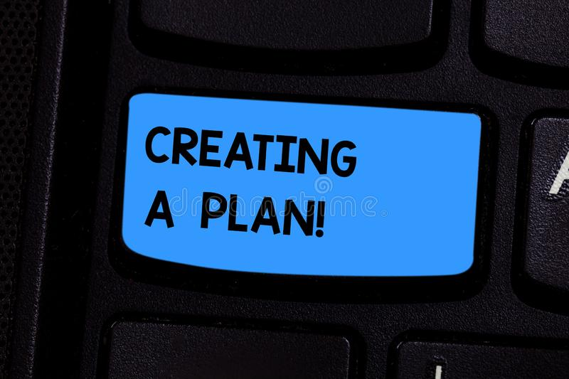 Text sign showing Creating A Plan. Conceptual photo Establish steps to follow for a project strategy to succeed Keyboard. Key Intention to create computer royalty free stock image