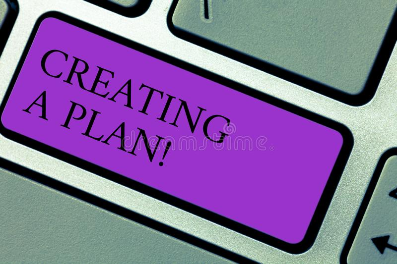 Text sign showing Creating A Plan. Conceptual photo Establish steps to follow for a project strategy to succeed Keyboard. Key Intention to create computer royalty free stock photography