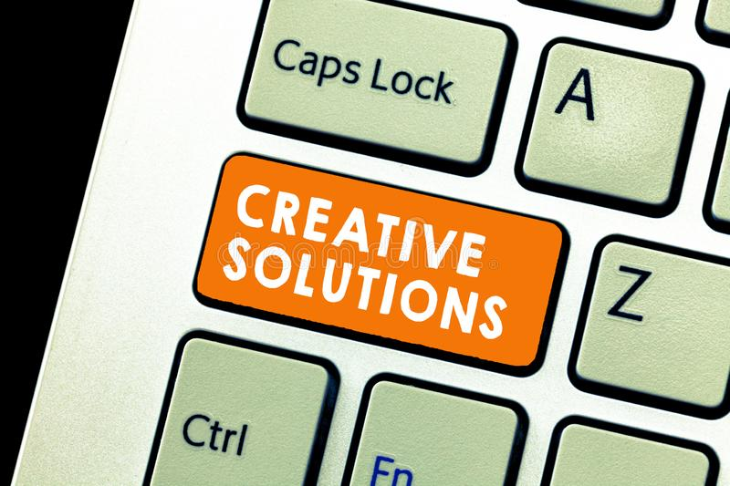 Text sign showing Creative Solutions. Conceptual photo Original and unique approach in solving a problem royalty free stock photos