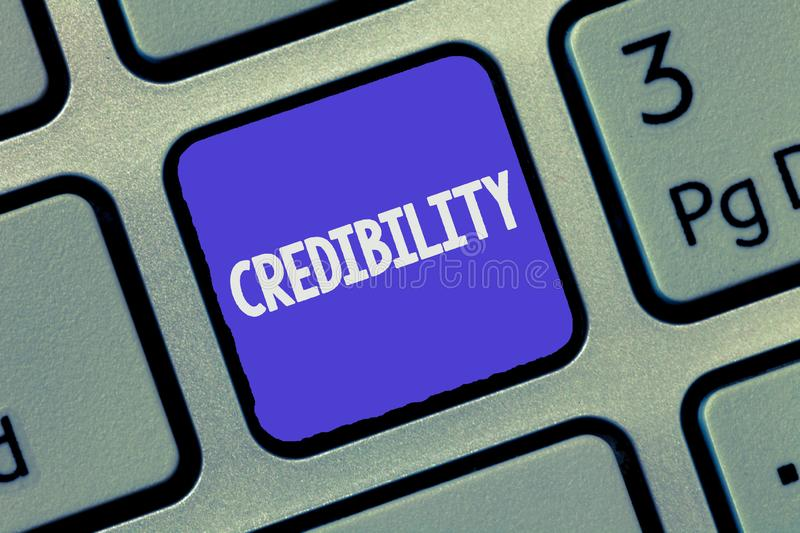 Text sign showing Credibility. Conceptual photo Quality of being convincing trusted credible and believed in.  royalty free stock photos