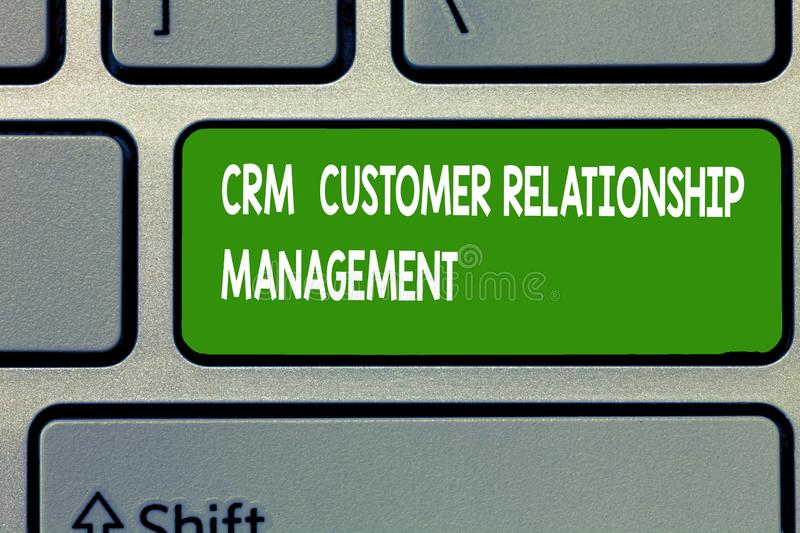 Text sign showing Crm Customer Relationship Management. Conceptual photo Manage and analyze customer interaction.  royalty free stock photos
