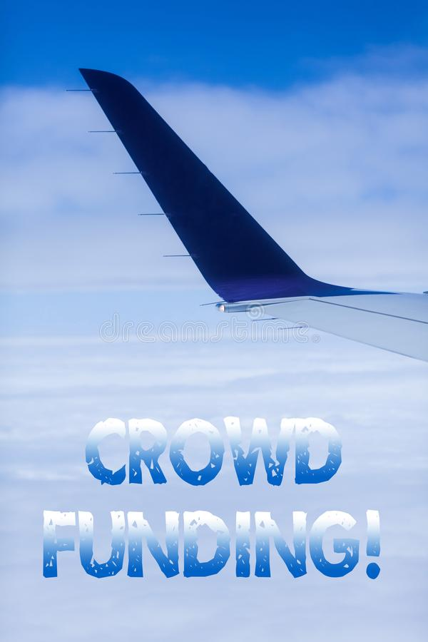 Text sign showing Crowd Funding. Conceptual photo technique of raising money from a large number of showing. royalty free stock photo