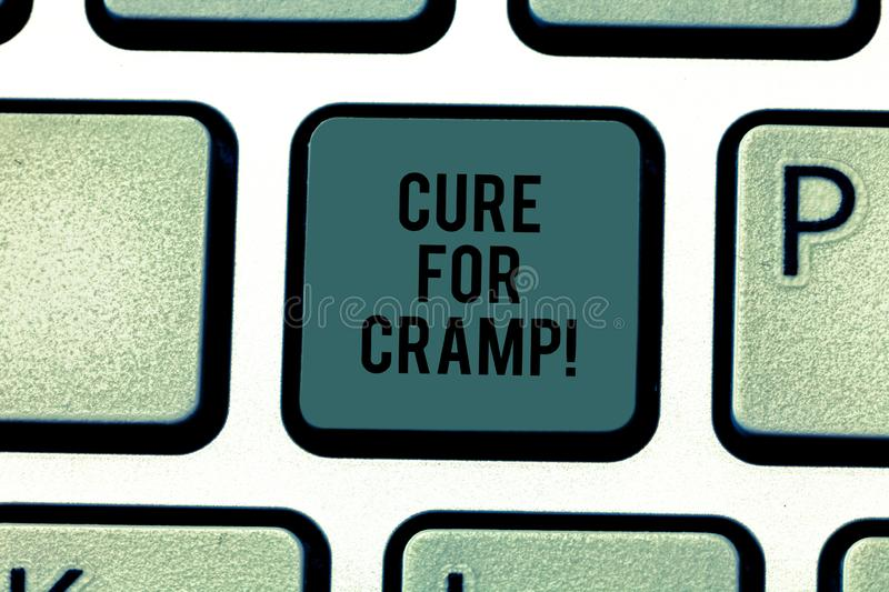 Text sign showing Cure For Cramp. Conceptual photo Medical treatment good care against some type of pains Keyboard key. Intention to create computer message royalty free stock photo