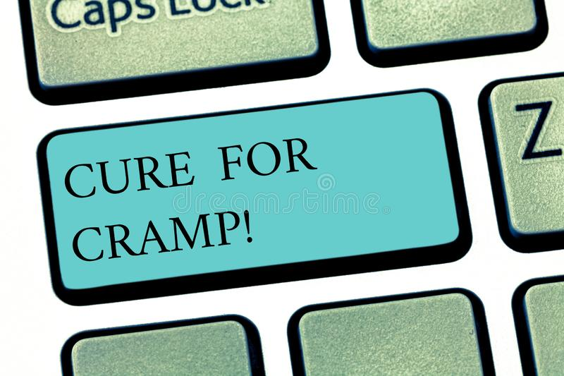 Text sign showing Cure For Cramp. Conceptual photo Medical treatment good care against some type of pains Keyboard key. Intention to create computer message stock images