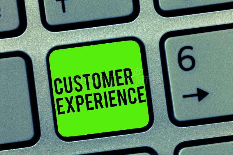 Text sign showing Customer Experience. Conceptual photo Interaction between Satisfied Customer and Organization.  royalty free stock photo