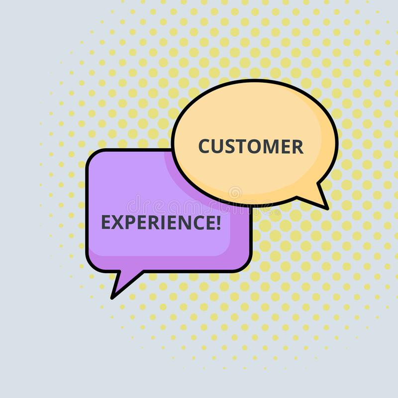 Text sign showing Customer Experience. Conceptual photo Interaction between Satisfied Customer and Organization Pair of. Text sign showing Customer Experience stock illustration
