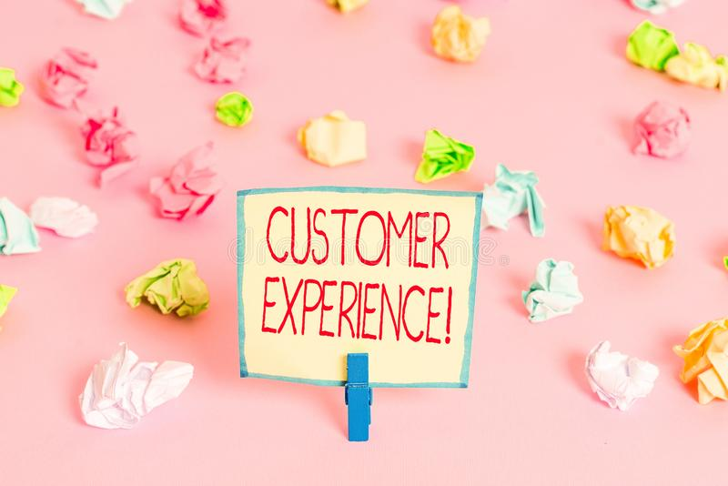 Text sign showing Customer Experience. Conceptual photo product of interaction between organization and buyer Colored crumpled. Text sign showing Customer royalty free stock photos