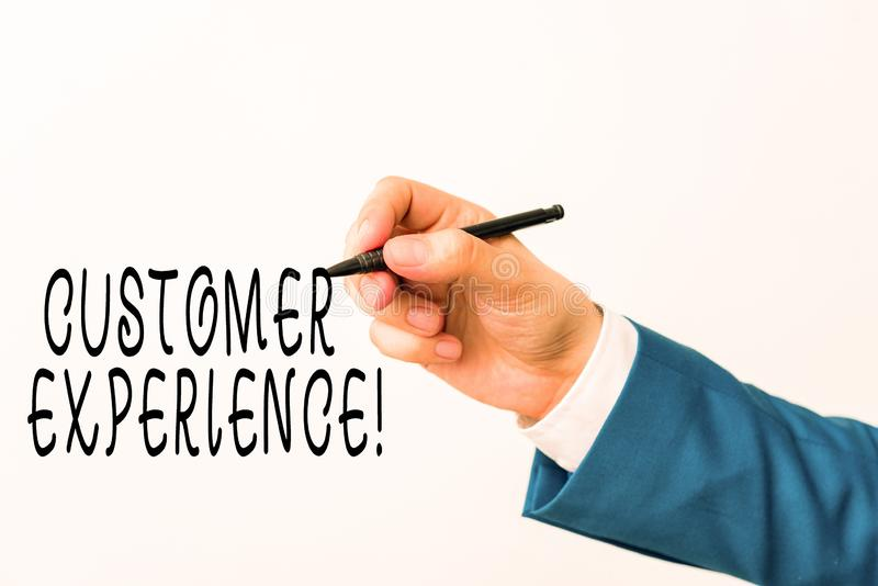 Text sign showing Customer Experience. Conceptual photo product of interaction between organization and buyer Isolated. Text sign showing Customer Experience stock photography