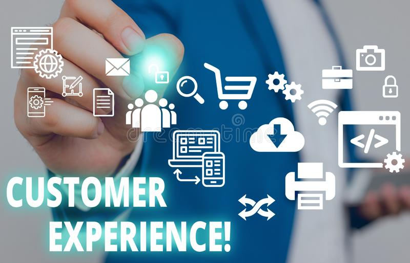 Text sign showing Customer Experience. Conceptual photo product of interaction between organization and buyer Male human. Text sign showing Customer Experience royalty free stock photo