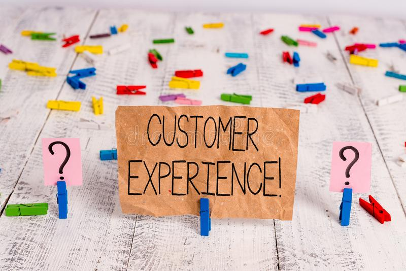 Text sign showing Customer Experience. Conceptual photo product of interaction between organization and buyer Scribbled. Text sign showing Customer Experience stock photography