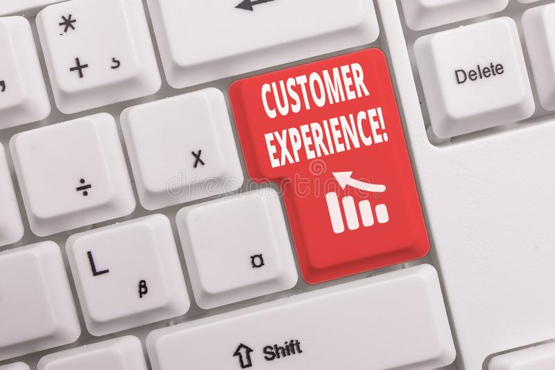 Text sign showing Customer Experience. Conceptual photo product of interaction between organization and buyer White pc. Text sign showing Customer Experience stock image
