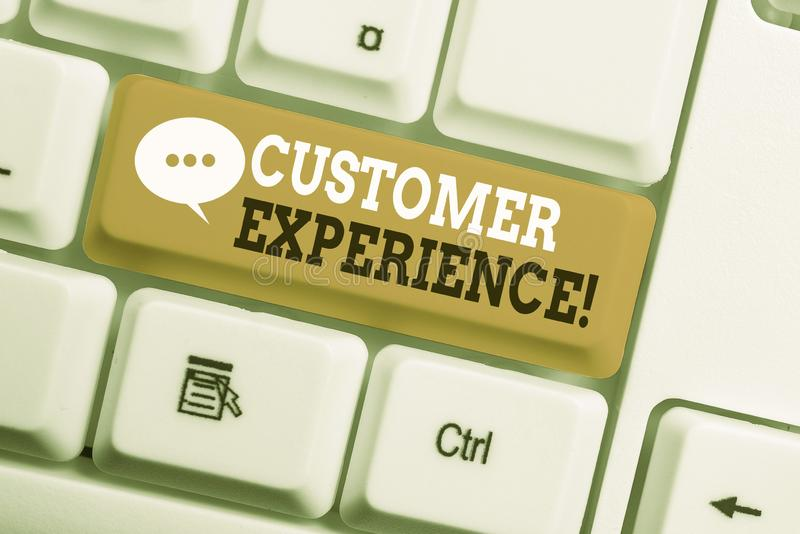 Text sign showing Customer Experience. Conceptual photo product of interaction between organization and buyer White pc keyboard. Text sign showing Customer stock image