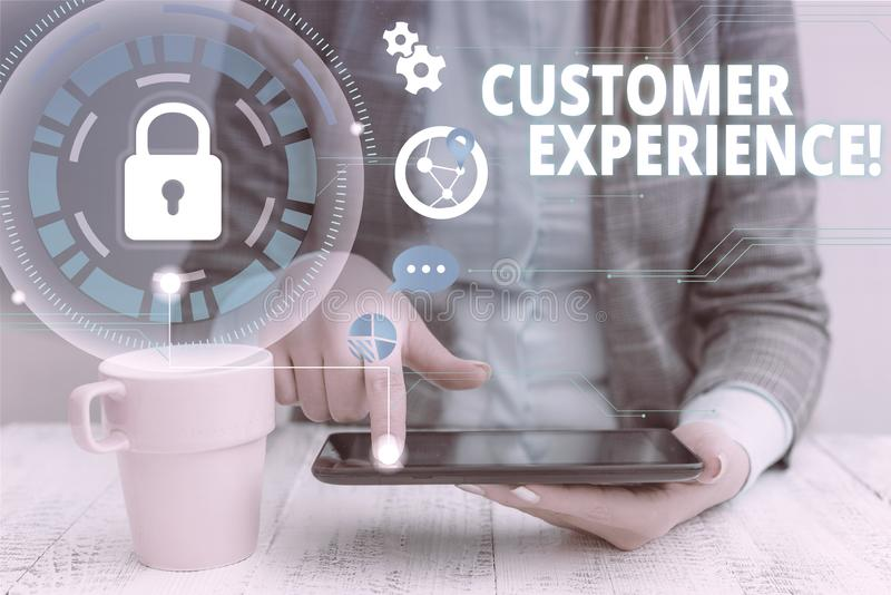 Text sign showing Customer Experience. Conceptual photo product of interaction between organization and buyer woman. Text sign showing Customer Experience stock photos