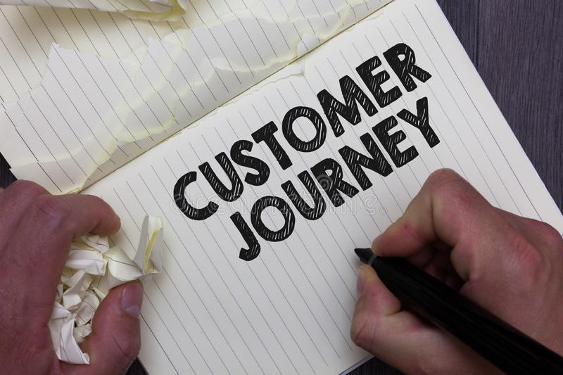 Text sign showing Customer Journey. Conceptual photo product of interaction between organization and customer Man holding marker n. Otebook crumpled papers royalty free stock photography