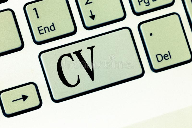 Text sign showing Cv. Conceptual photo Job seeker life experiences Education attainment skills and expertise.  royalty free stock image