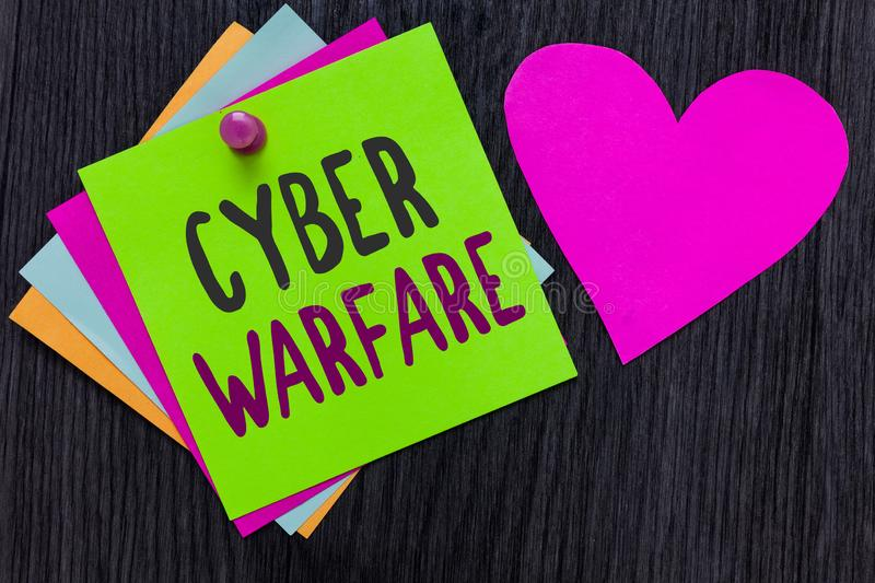 Text sign showing Cyber Warfare. Conceptual photo Virtual War Hackers System Attacks Digital Thief Stalker Papers Romantic lovely royalty free stock photo