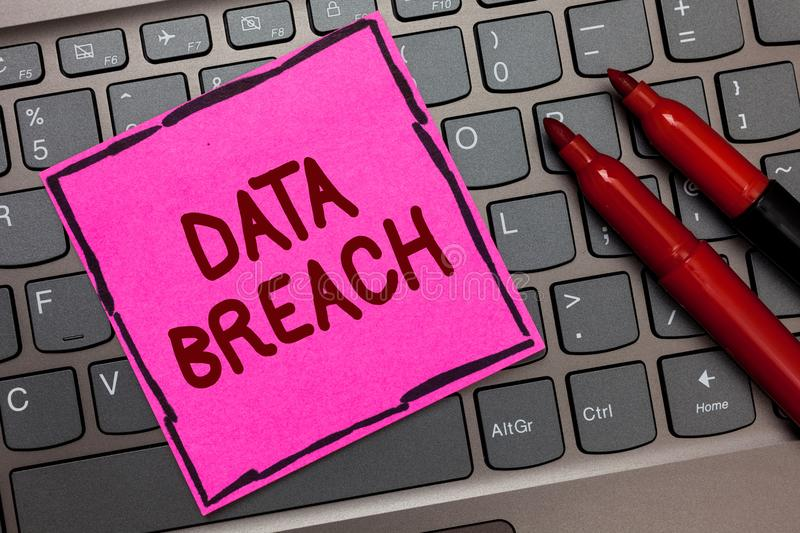 Text sign showing Data Breach. Conceptual photo security incident where sensitive protected information copied Pink paper keyboard. Inspiration communicate stock image