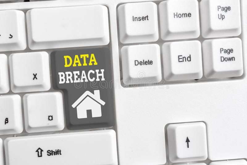 Text sign showing Data Breach. Conceptual photo security incident where sensitive protected information copied White pc. Text sign showing Data Breach. Business royalty free stock images