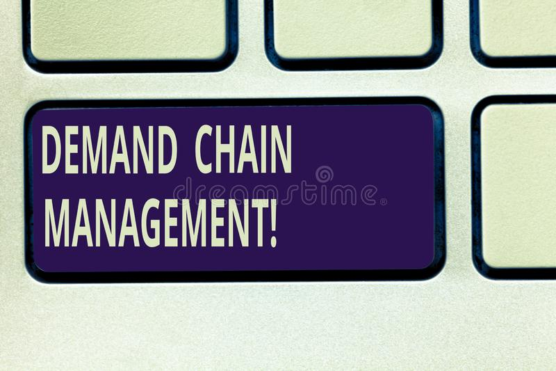 Text sign showing Deanalysisd Chain Management. Conceptual photo Relationships between suppliers and customers Keyboard. Key Intention to create computer stock photos