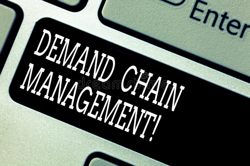 Text sign showing Deanalysisd Chain Management. Conceptual photo Relationships between suppliers and customers Keyboard. Key Intention to create computer royalty free stock images