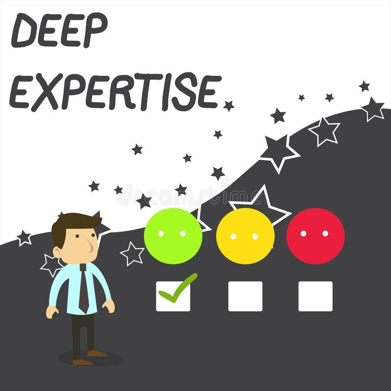 Text sign showing Deep Expertise. Conceptual photo Great skill or broad knowledge in a particular field or hobby White vector illustration