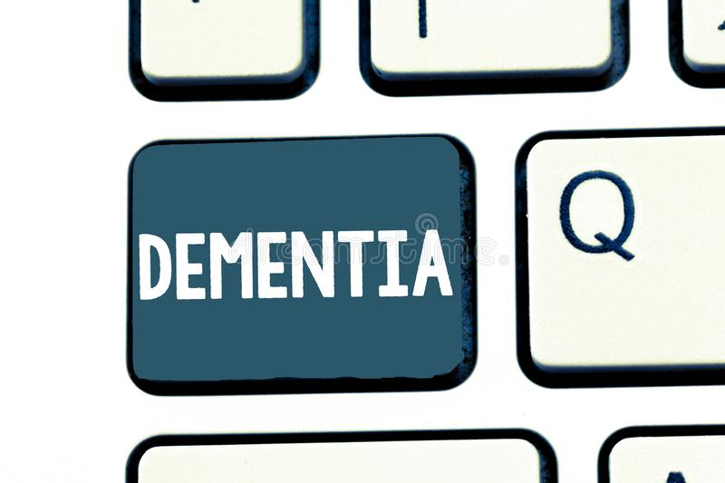 Text sign showing Dementia. Conceptual photo Impairment in memory Loss of cognitive functioning Brain disease stock photography