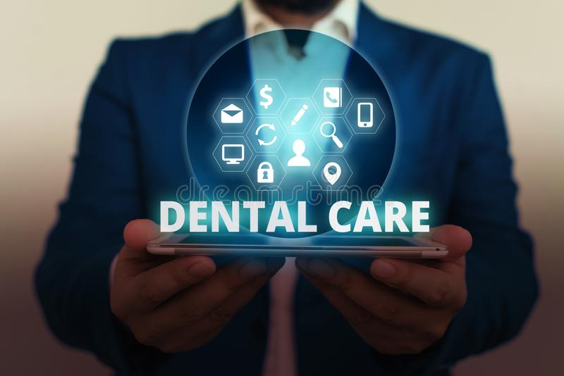 Text sign showing Dental Care. Conceptual photo maintenance of healthy teeth or to keep it clean for future. Text sign showing Dental Care. Business photo stock photography