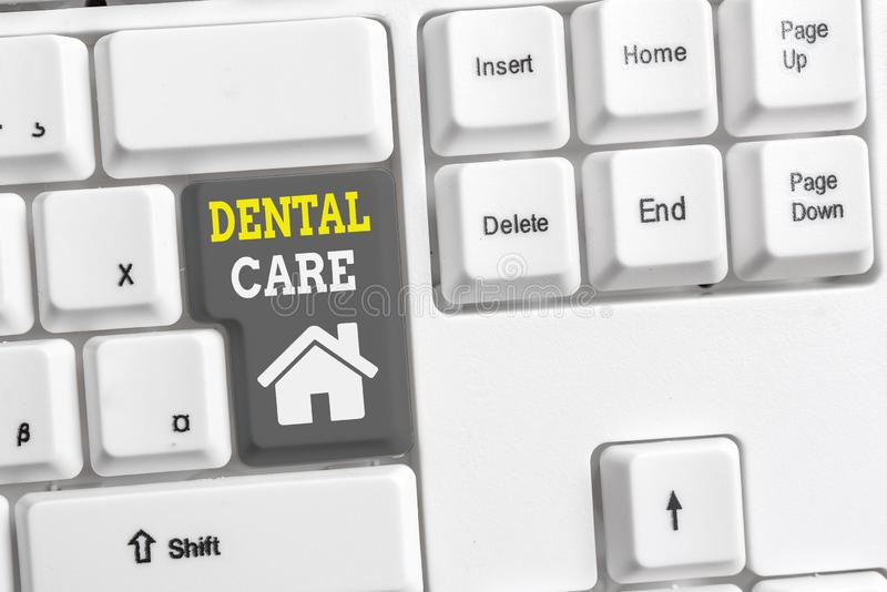 Text sign showing Dental Care. Conceptual photo maintenance of healthy teeth or to keep it clean for future White pc. Text sign showing Dental Care. Business stock photography